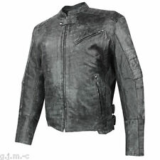 XS-20250 Mens Amored Thick Soft Cowhide Leather Motorcycle Jacket Gun Pocket