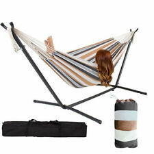 Double Hammock With Space Saving Steel Stand +Portable Carrying Case+ free Pouch