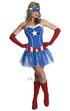 Sexy Marvel Superhero Miss Captain America Ladies Fancy Dress Hen Party Costume