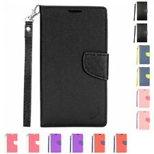 Wallet Flip Case With ID Card Holder Pocket Slot & Lanyard For Apple ZTE Phones