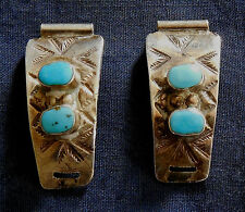 NAVAJO W. LONG STERLING Silver Stamped 4 TURQUOISE Cabs Ladys Vintage WATCH ENDS