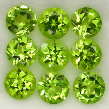 WONDERFUL SET! 4.55ct.Great AAA Natural Apple Green Pakistan Peridot Round 5mm.