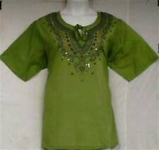 "Cotton Blouse Top Embroidered Blouse Lady Shirt P Green Blue 1X= 48"" - 50""around"
