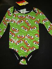 "SESAME STREET OSCAR long sleeve BODY SUIT  NWTS  ""ALL OVER OSCAR PRINT """