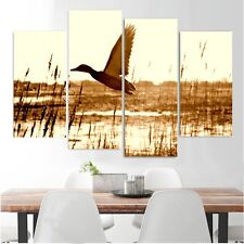 Framed Home Decor Canvas Print Painting Wall Art Duck Flying Lake Sepia