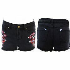 Ladies Womens Denim Shorts Embroidered Black Hotpants Jeans Pants