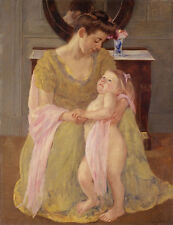 """Mary Cassatt : """"Mother and Child with a Rose Scarf"""" (c.1908) — Fine Art Print"""