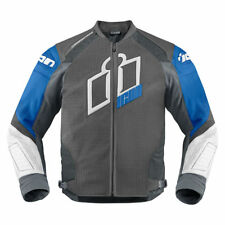 Icon Mens Blue/Grey/White Leather Hypersport Prime Motorcycle Jacket