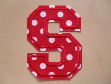 Large Red & White Spot Patterned Felt Letter - Height 13cm - Iron On Or Sew On