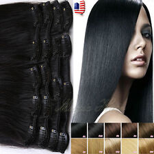 100% Glorious 7/8pcs Clip in Real Human Hair Extensions Full Head Wedding SU959