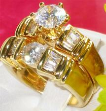 R1060 WOMENS BAGUETTE ROUND SIMULATED DIAMOND RING SET 2PCS WEDDING BAND gold