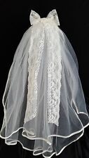 #2 TIER IVORY EMBROIDERED RIBBON LACE VEIL, HOLY COMMUNION VEIL, BRIDAL VEIL