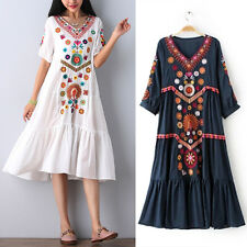 Women Vintage Gypsy Bohemian Ethnic Mexican Embroidered Long Boho Loose Dress