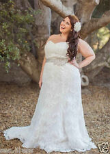 New White/Ivory lace Bridal Gown Wedding Dress Plus Size 8-10-12-14-16-18-20-22+