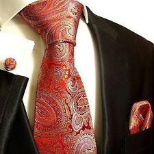 Silk Necktie Set by Paul Malone . Red, Blue and Gold Paisley
