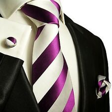 Silk Necktie Set by Paul Malone . Purple and White Stripes