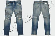 BALMAIN 1485$ Authentic New Skinny Blue 16cm Knee Rip Japanese Biker Jeans
