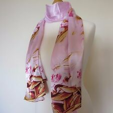 100% SILK VINTAGE STYLE LILY FLOWER SCARF SHAWL  PINK YELLOW / CREAM GREEN new
