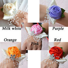 Cream Feather & Flower Wrist Corsage Pearl Bead Bracelet for Wedding