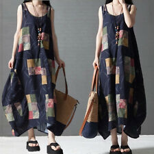 Plus Size New Women Lady Summer Cotton Linen Loose Flax Tunic Casual Long Dress