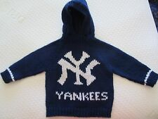 NEW! Hand Knit MLB NY Yankees Baby Sweater back zipper 6 or 12 month Navy Hoodie