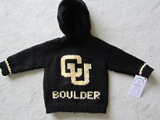 NEW! Hand Knit U of Colorado Baby Sweater back zipper 6 or 12 month Black Hoodie