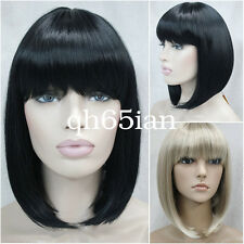 Fashion Bob Short Straight bang Women Ladies Hair Full Wig Perruque Black Blonde