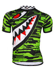 Men Bike Cycling Jersey Short Sleeve Polyester Quick Dry Rear Pocket MA001 Green