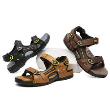 Mens Cow Leather Fisherman Beach Summer  Sandals Outdoor Shoes Casual Platform