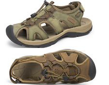 Mens Leather Beach Summer Sandals Waterproof  Outdoor Casual  Fisherman Shoes