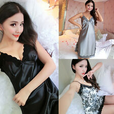 2017 Popular Women's Sexy V Collar Lace Robe Babydoll Silk Nightdress Pajamas