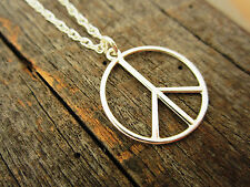 YOLLA Sterling Silver Peace Sign Pendant Necklace - USA