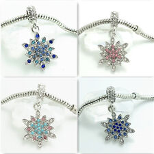European 1pcs Silver Snowflake CZ Charm Beads Fit 925 Necklace Bracelet #2