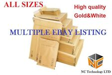 FREE P&P Mail Lite Bubble Envelopes Sealed ALL SIZES Gold&White 24H High quality