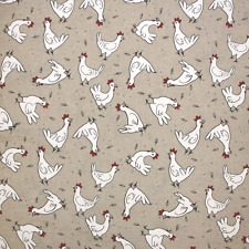 Chickens Hens Rooster Farm Animal Upholstery Cotton Linen Fabric