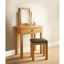 WILTSHIRE OAK SOLID 3 PIECE DRESSING TABLE SET WITH STOOL MIRROR ROOM FURNITURE
