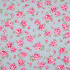 100% Cotton Fabric - Dusky Vintage Blue Floral - Rose & Hubble - Cut from Roll