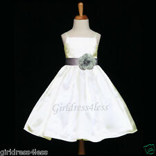 IVORY/SILVER HOLIDAY WEDDING FLOWER GIRL PARTY DRESS 12M 18M 24M 2 3/4 6 8 10 12