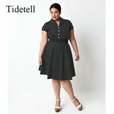 Vintage Plus Size V-Neck Short Sleeves Knee Length A-Line 1950s Cocktail Dress