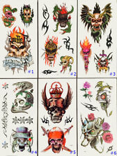 NEW Temporary Tattoos Snake & Skull Body Art Large Transfer Water Proof Tattoo