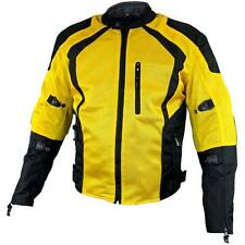 Mens Xelement 3025 TriTex Black Yellow Reflective Armored Motorcycle Jacket