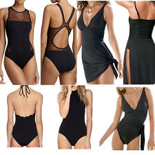 Women's One Piece Swimsuit Swimwear Bathing Monokini Push Up Padded Bikini Black