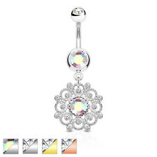 Crystal Paved Vintage Filigree Flower Dangle Jewelled Belly Bar / Navel Ring