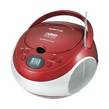 Naxa NPB-252R Portable MP3/CD Player with AM/FM Stereo Radio and AUX-in, Red