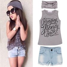3pcs Kids Baby Girl Outfits Headband+Top T-shirt+Jeans Pants Clothes Set 2-6Y -