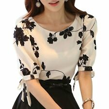Women Shirt Summer Top Floral Black Embroidered White Slim Chiffon Blouse Casual