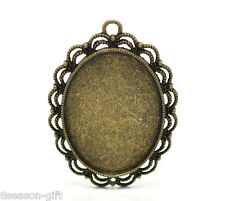 Wholesale Bronze Tone Oval Cabochon Frame Setting Pendants 5.4cmx4.1cm