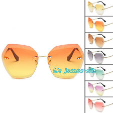 Men Women Luxury Transparent Sunglasses No Frame Clear Sun Glasses Retro UV400