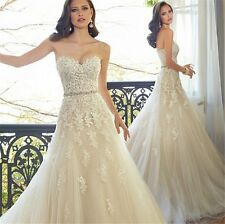 9032 lace long wedding dress bride dresses Beading Crystal Beach gown size 2 4 6