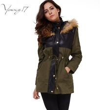 Young17 Casual Army Green Women's winter jacket Ladies Patchwork Long coat Fur